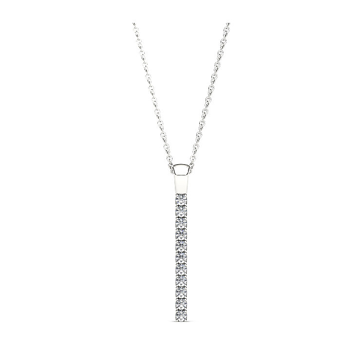 Line of Love 9ct white gold 1/3ct diamond flexi pendant - Product number 3717909