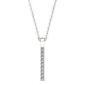 Line of Love 9ct white gold 1/4ct diamond flexi pendant - Product number 3717925