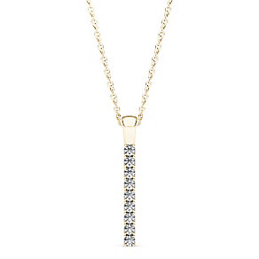 Line of Love 9ct gold 1/4ct diamond flexi pendant - Product number 3717933