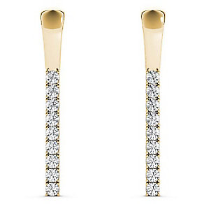 Line of Love 9ct gold 1/4ct diamond flexi earrings - Product number 3718204