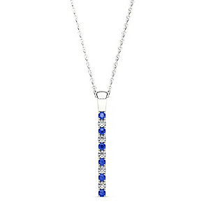 Line of Love 9ct white gold 0.12ct diamond sapphire pendant - Product number 3718220