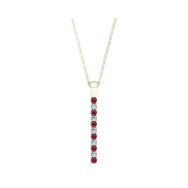 Line of Love 9ct gold 0.12ct diamond & ruby pendant - Product number 3718247