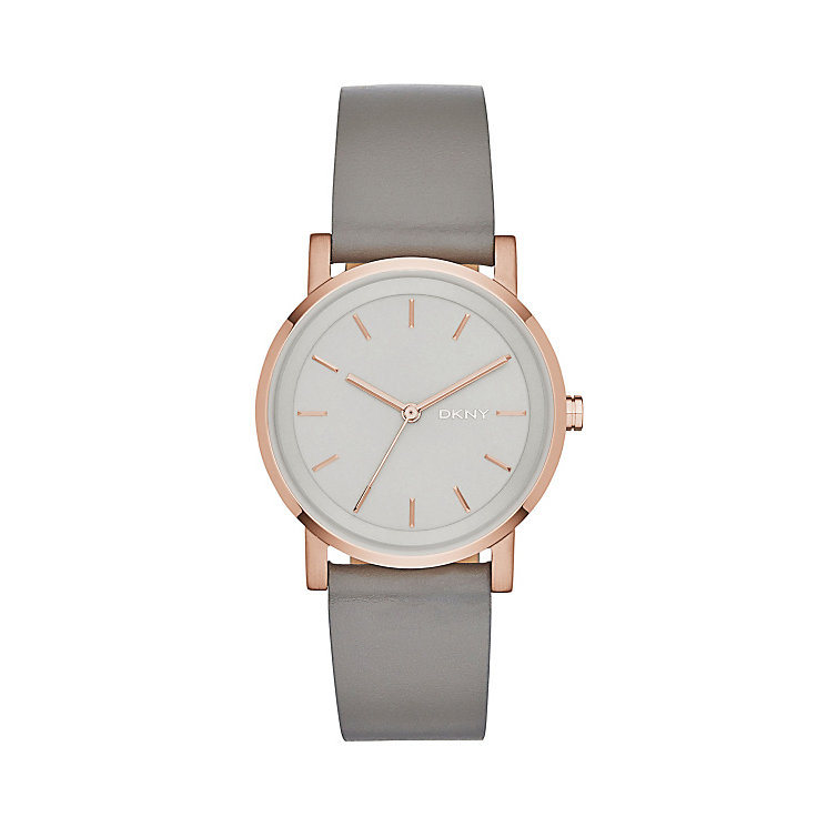 Dkny Soho Ladies' Rose Gold Tone Round Strap Watch - Product number 3720624
