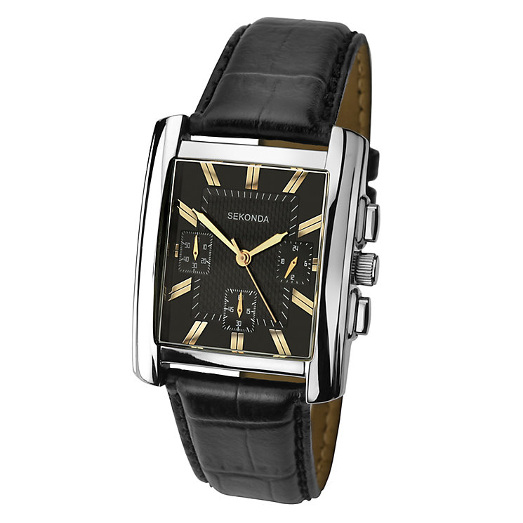 Sekonda Men's Rectangular Dial Black Leather Strap Watch - Product number 3721337