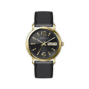 Marc Jacobs Fergus ladies' gold-plated black strap watch - Product number 3721892