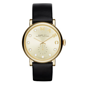 Marc Jacobs Baker ladies' gold-plated black strap watch - Product number 3722147