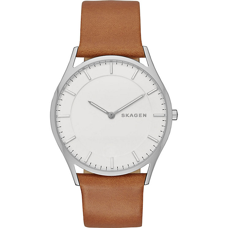 Skagen Men's White Dial Brown Leather Strap Watch - Product number 3722503