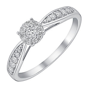 9ct white gold quarter carat halo cluster diamond ring - Product number 3722511