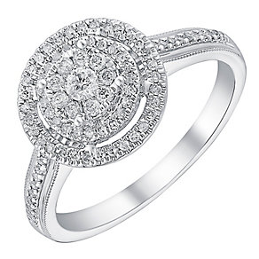 9ct white gold 0.33ct double halo diamond ring - Product number 3722643