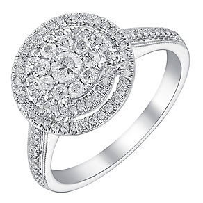 9ct white gold half carat double halo diamond ring - Product number 3723305