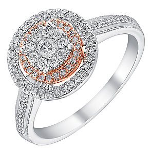 9ct white & rose gold 0.33ct diamond double halo ring - Product number 3723577
