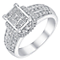 18ct white gold 1ct princess cut round cluster diamond ring - Product number 3723887