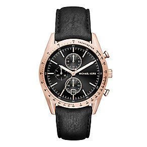 Michael Kors Accelerator Rose Gold Tone Brown Strap Watch - Product number 3725960