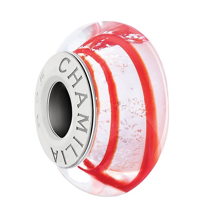 Chamilia Silver Murano Glass Red & White Candy Striped Bead - Product number 3727904