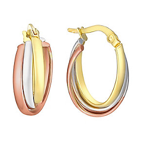 9ct Gold, White Gold & Rose Gold Oval Twist Creole Earrings - Product number 3727947