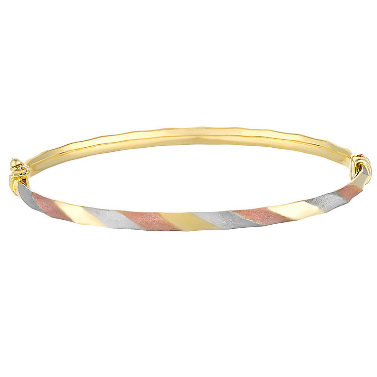 9ct Gold, White Gold & Rose Gold Matt Polished Hinged Bangle - Product number 3727955