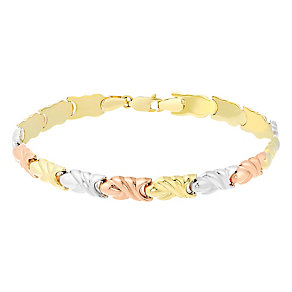 "9ct Gold, White Gold & Rose Gold 7.5"" Stampato Bracelet - Product number 3727971"