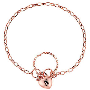 "9ct Rose Gold 7.5"" Padlock Charm Bracelet - Product number 3728048"