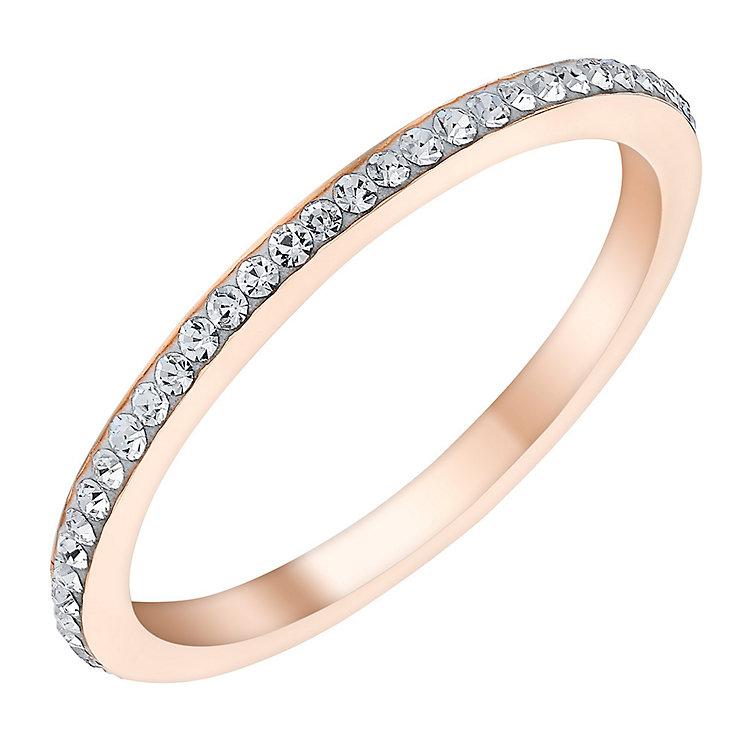 Evoke Rose Gold-Plated Swarovski Crystal Set Ring - Product number 3730123