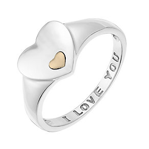 Sterling Silver 'I Love You' Heart Signet Ring - Product number 3730573