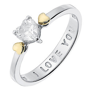 Sterling Silver & 9ct Gold Cubic Zirconia Heart Ring - Product number 3730727