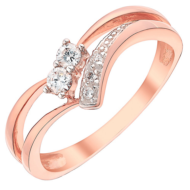 9ct Rose Gold Cubic Zirconia Set V Shaped Ring - Product number 3731073