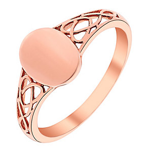 9ct Rose Gold Oval Signet Ring - Product number 3731235