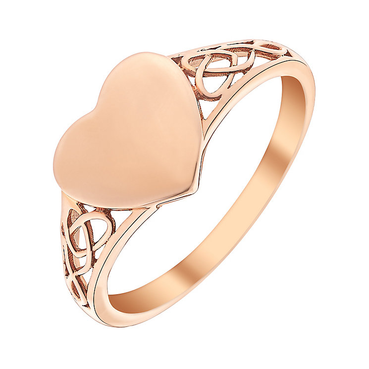 9ct Rose Gold Heart Signet Ring - Product number 3731375