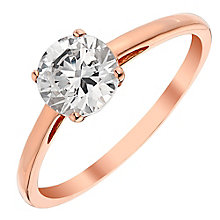 9ct Rose Gold Cubic Zirconia Solitaire Ring - Product number 3731685