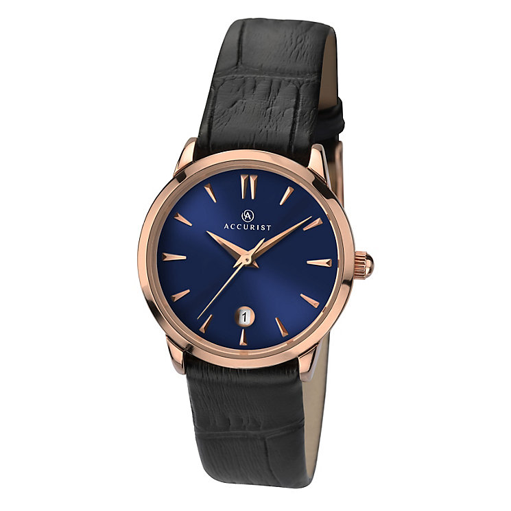 Accurist Ladies' Round Blue Dial Black Leather Strap Watch - Product number 3732061