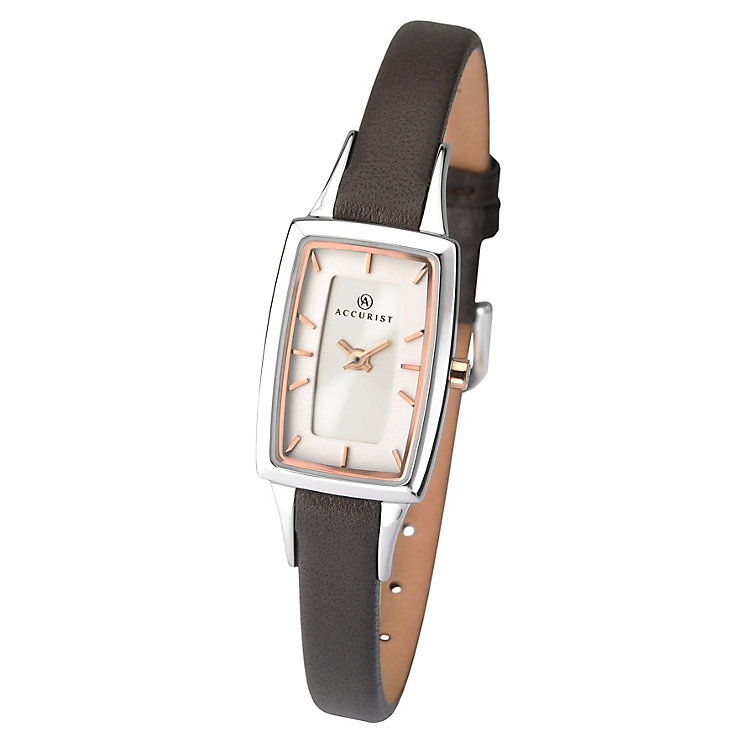 Accurist Ladies' White Dial Black Leather Strap Watch - Product number 3732088