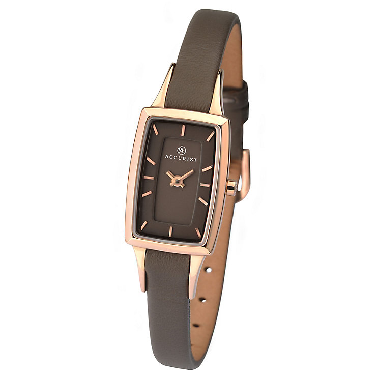 Accurist Ladies' Mink Dial Brown Leather Strap Watch - Product number 3732126
