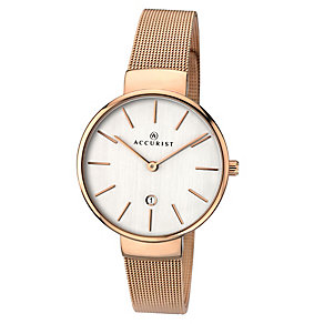 Accurist Ladies' Rose Gold Plated Mesh Bracelet Watch - Product number 3732185