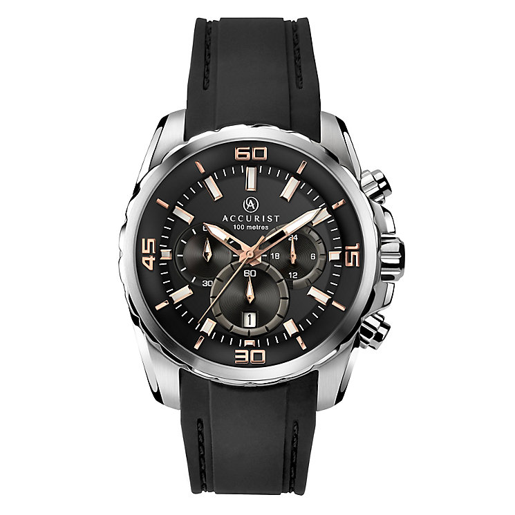 Accurist Men's Round Black Dial Black Silicon Strap Watch - Product number 3732207