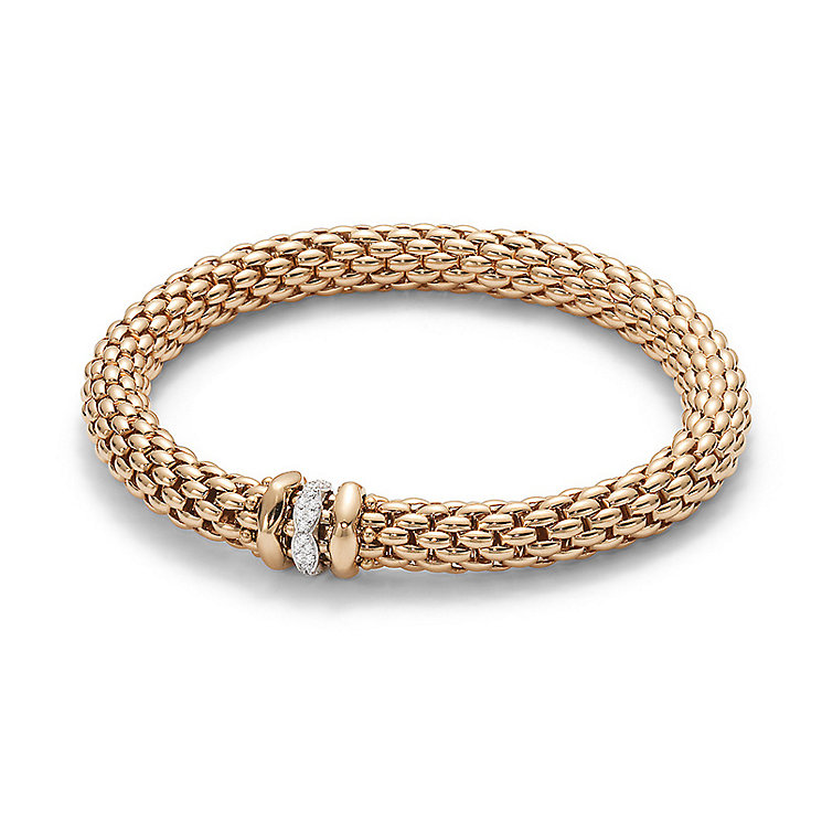Fope Love Nest 18ct rose gold bracelet with diamond rondelle - Product number 3732266
