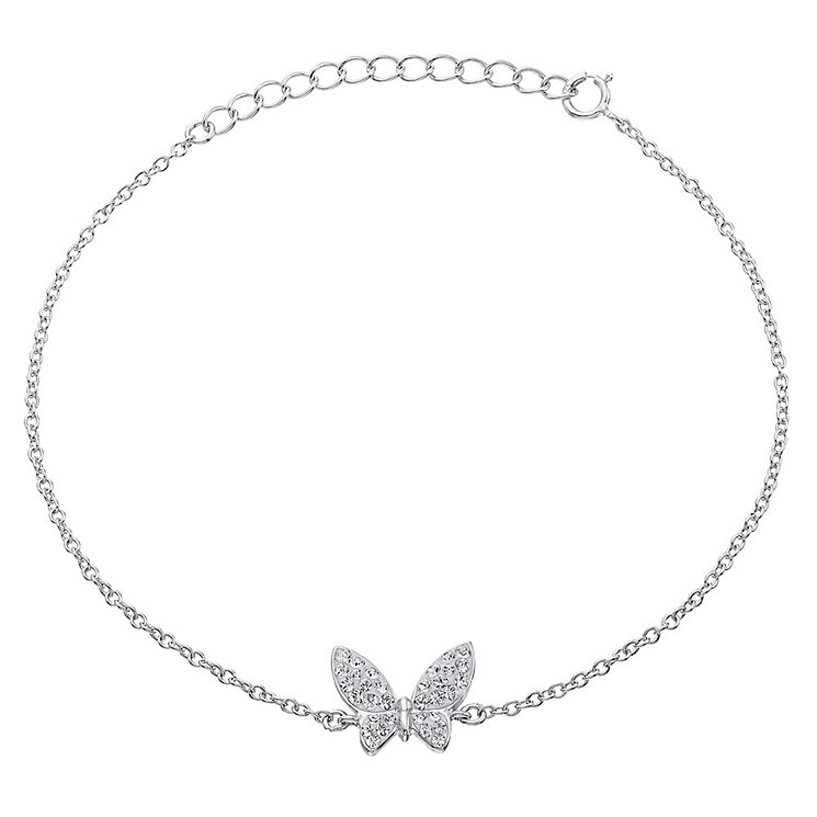 Evoke Rhodium-Plated Crystal Butterfly Bracelet - Product number 3732657