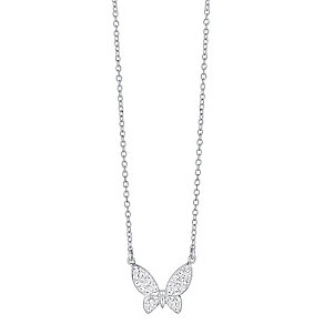 "Evoke Rhodium-Plated Crystal Butterfly 18"" Pendant - Product number 3732673"