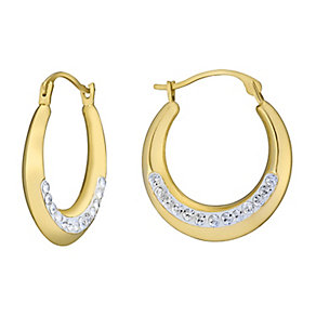Evoke Silver Gold-Plated Swarovski® Crystal Creole Earrings - Product number 3732959