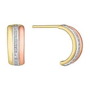 9ct Gold, White Gold & Rose Gold Wedding Earrings - Product number 3732967