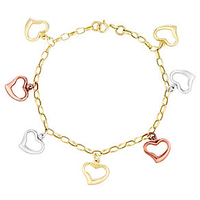 """9ct Gold, White Gold & Rose Gold 7.25"""" Heart Charm Bracelet - Product number 3732975"""