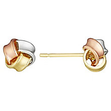 9ct Gold, White Gold & Rose Gold Small Knot Stud Earrings - Product number 3733017