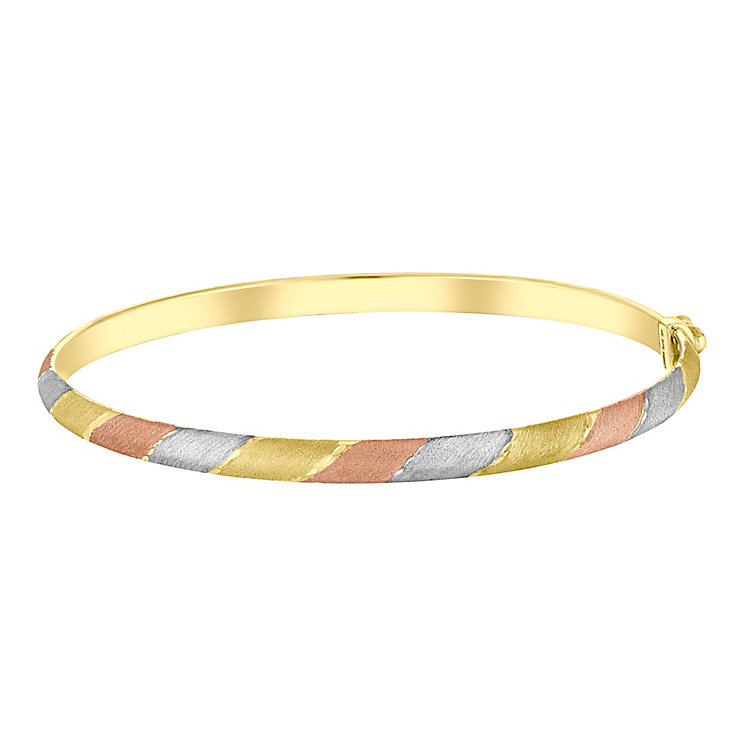 9ct Gold, White Gold & Rose Gold Hinged Bangle - Product number 3733106