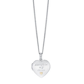 "Sterling Silver & 9ct Gold Heart Locket With 18"" Chain - Product number 3733122"