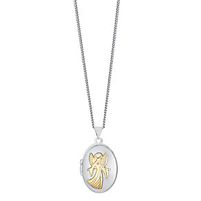 "Sterling Silver & 9ct Gold Guardian Angel Locket 18"" Chain - Product number 3733130"