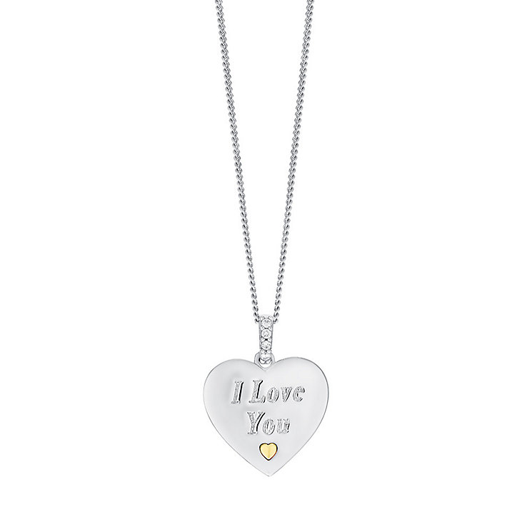 Sterling Silver & 9ct Gold Cubic Zirconia Heart Pendant - Product number 3733149