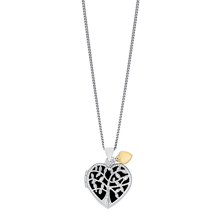 "Sterling Silver & 9ct Gold Tree Locket With 18"" Chain - Product number 3733173"