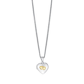 "Sterling Silver & 9ct Gold Heart Locket With 18"" Chain - Product number 3733203"