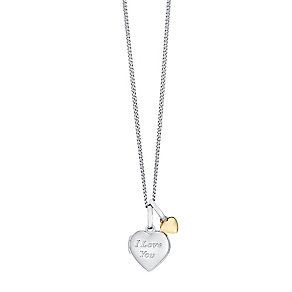 "Sterling Silver & 9ct Gold Heart Locket With 18"" Chain - Product number 3733262"