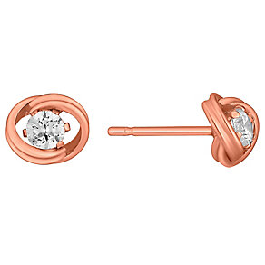 9ct Rose Gold Cubic Zirconia Knot Stud Earrings - Product number 3733548