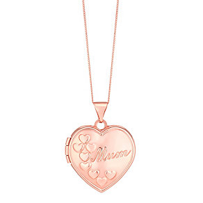 "9ct Rose Gold 'Mum' Locket With 18"" Chain - Product number 3733564"